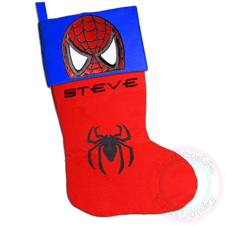 Spiderman, Personalised, Christmas Stocking, Personalised Stocking, Superhero Character, Marvel, Comic superhero, Mens Christmas, Gift - pinned by pin4etsy.com