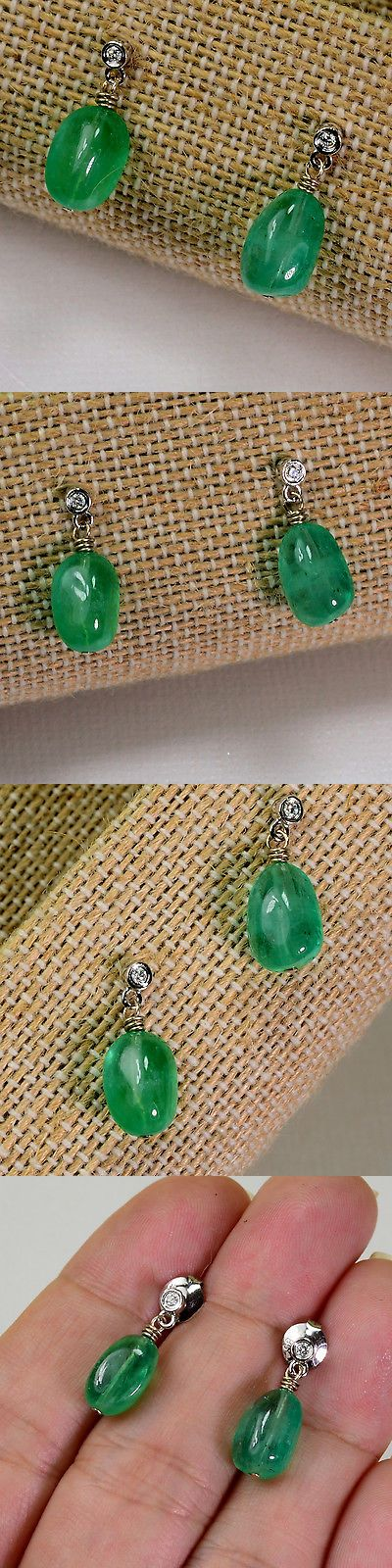 Gemstone 164321: 14K Solid White Gold Diamond 6.5Ct Emerald Nuggets Earrings BUY IT NOW ONLY: $750.0