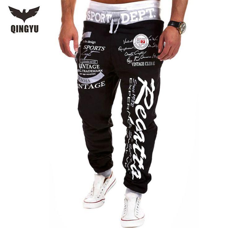 Pantalones Aire Libre Joggers basculador Hombres 2016 Impresión de la Letra Masculina Harem Sweat Pant Hombres Usan Pantalones Para Hombre Del Basculador 3XL EYFMF