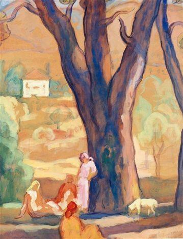 Peinture Algérie - Détente sous les arbres par Augustin Ferrando