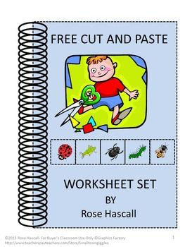 "FREE Cut and Paste worksheet set. All children love activities using scissors and glue sticks, so I created a set of 20 cut and paste activities. In this packet, you will receive four of them free! All I ask in return is to please click on the star above to ""Follow Me."
