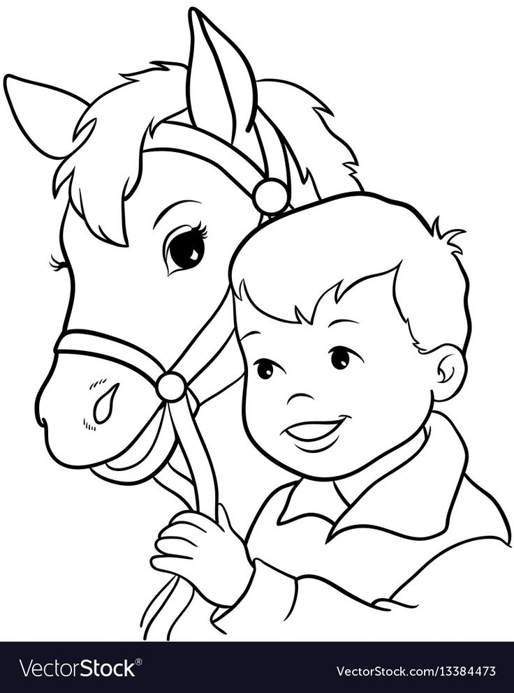 Cute little girl riding a horse Royalty Free Vector Image