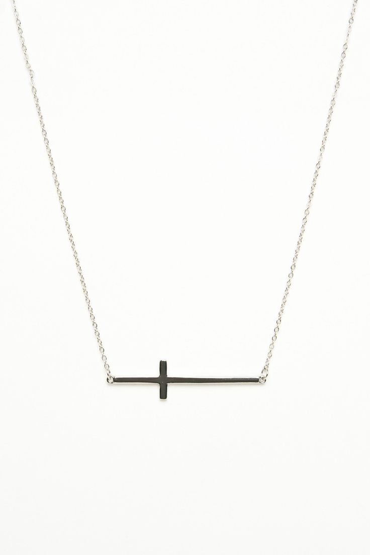 ShopSosie Style : Skinny Laid Cross Necklace in Silver
