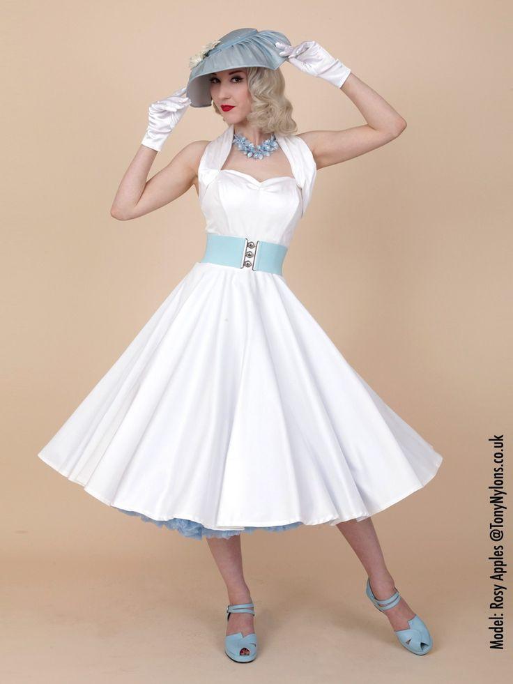 1950s Halterneck White Sateen Dress from Vivien of Holloway