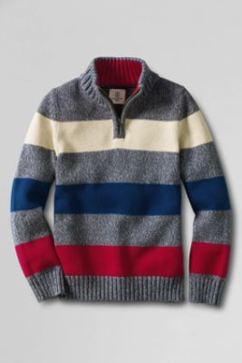Boys' Half-zip Mockneck Stripe Sweater from Lands' End