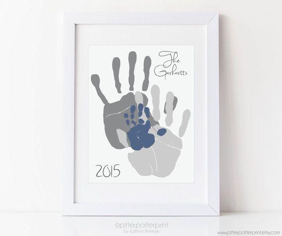 Handprint Family Portrait Art Gift for New von PitterPatterPrint