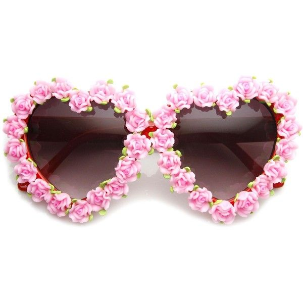 Womens Heart Shaped Flower Adorned Oversize Sunglasses 9197 (410 UAH) ❤ liked on Polyvore featuring accessories, eyewear, sunglasses, uv protection glasses, heart glasses, over sized sunglasses, oversized sunglasses и oversized heart shaped sunglasses