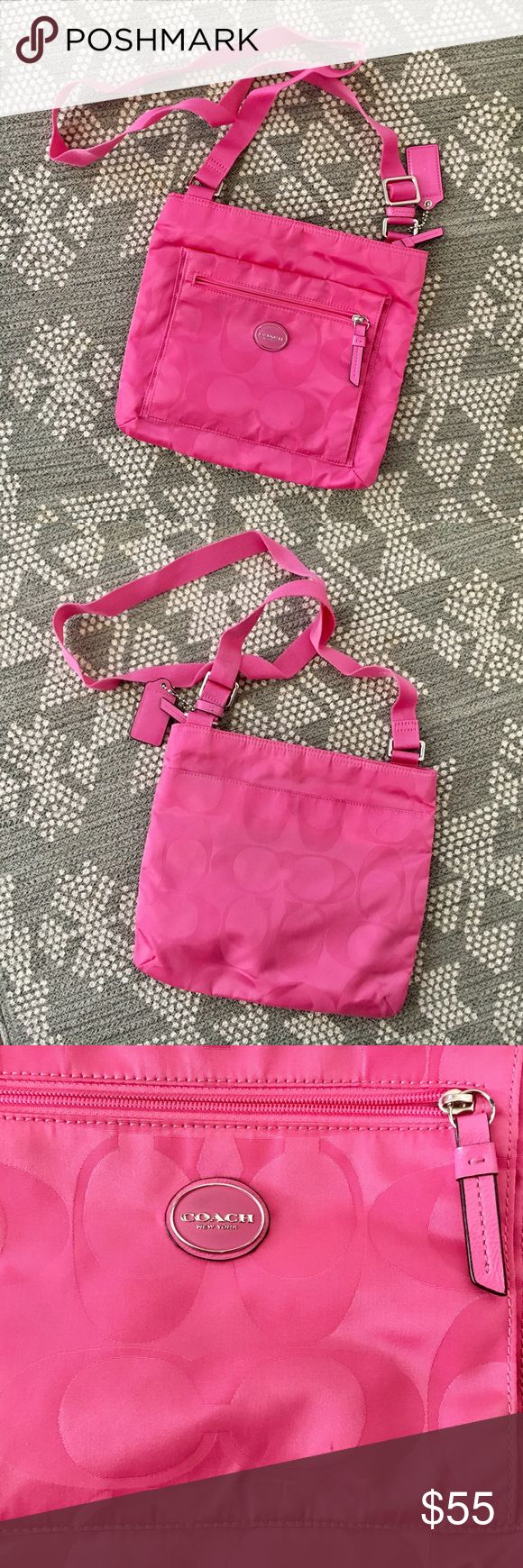 Hot pink cross body Coach purse It is gently used! There are some dark marks from rubbing on jeans on the back of the bag, near the magnet button on the back pocket. Also has some darker spots from being in storage while we moved. Pictures show all the spots! Material of the bag is easy to clean! Coach Bags Crossbody Bags