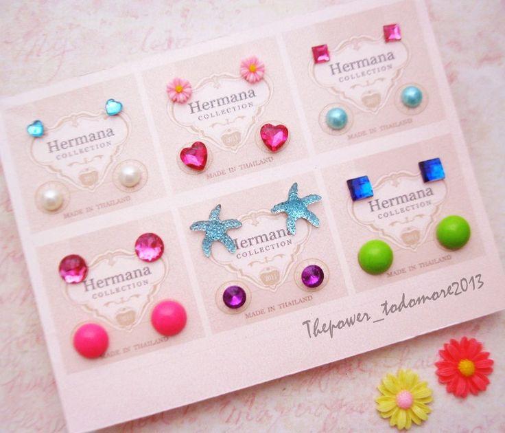 12 Pairs Lot of Cute Kids Plastic Soft Post Stud Earrings for Girls Children A2 #Handmade #Stud