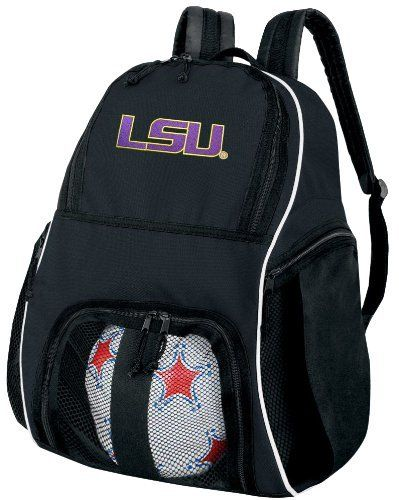 LSU Tigers Ball Backpack LSU Soccer Ball Bag Basketball Backpacks OFFICIAL NCAA COLLEGE LOGO by Broad Bay. $38.99. This well made college logo LSU Tigers ball backpack is the perfect solution for soccer or basketball practice. Made of heavy duty 600D polyester with soft backing, the mesh paneled interior ball compartment allows you to quickly and easily zip your ball right in and keep it separate from the main compartment. The main compartment measures approximately 10in...