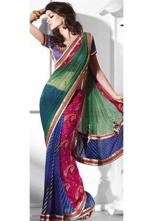 Utsav Fashion : green-faux-chiffon-and-net-saree-with-blouse