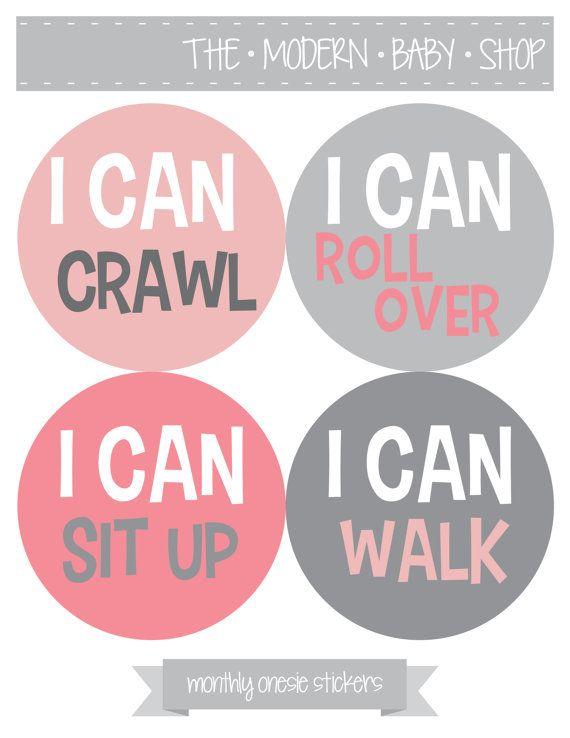 Monthly Baby Onesie Stickers, Milestone Stickers - Baby Girl, Baby Shower Gift, Grey, Pink