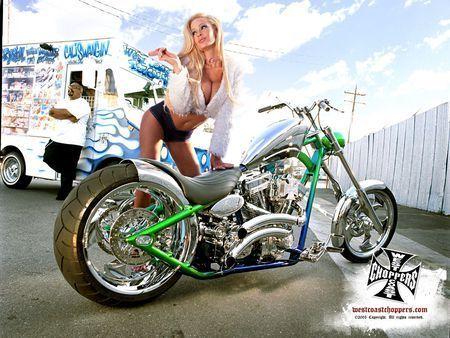 west coast choppers (el diablo rigid)/model: laura shay selway/photo: eric hameister