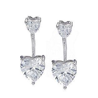 Diamonique 3.5ct tw Double Heart Jacket Earrings Sterling Silver