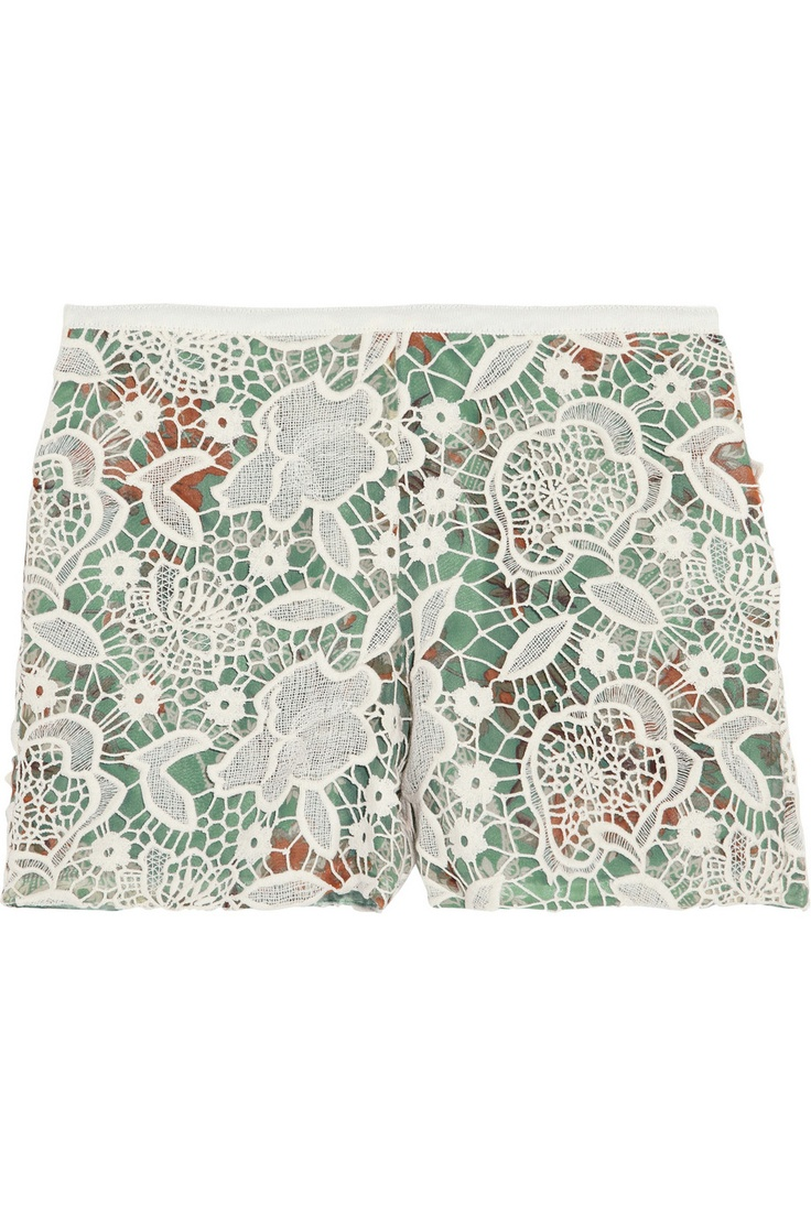 Anna Sui|Lace-covered printed silk shorts|NET-A-PORTER.COM