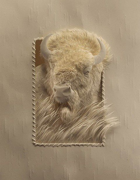 "Bison - Canadian artist Calvin Nicholls creates amazingly beautiful sculptures using sheets of paper. ""Working with sheets of paper and a scalpel, he cuts the component pieces to fit the final drawing and assembles the low relief artwork under studio lighting. When the sculpture is complete the lighting is adjusted to bring out the subtle form and texture. A large format camera is used to capture the detail on 8×10 film prior to scanning for print applications or art prints."""