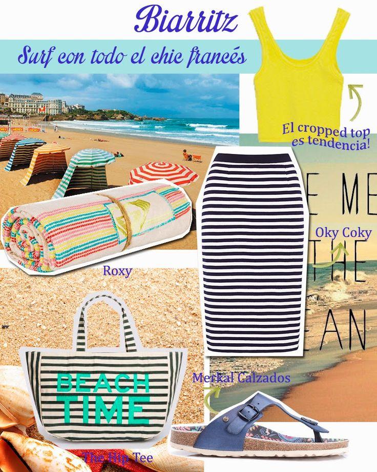 ¿Qué me pongo para visitar Biarritz? Saca tu yo más fashionista para sorprender a los surferos. Cropped top amarillo de Zara; falda tubo de rayas marineras de Oky Coky; toalla de playa de Roxy; bolsa para la playa de The Hip Tee; sandalias de Merkal Calzados.