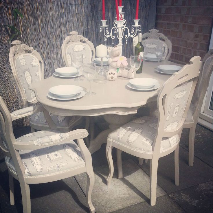 french shabby chic table and 6 louis chairs with bespoke glass table protector for sale