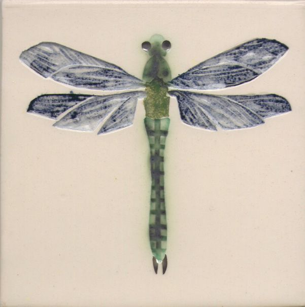 10 x 10 cm ceramic tile. Dragonfly.