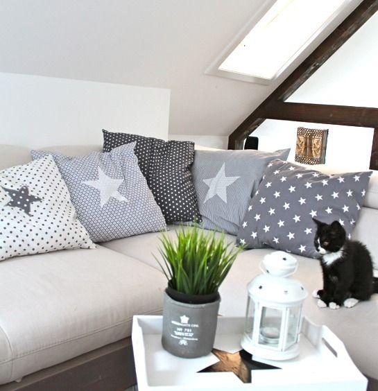 Kissen+mit+Stern+Kissenbezug+grau+Sterne+von+design+dots+auf+DaWanda.com