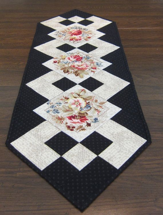 Black and White Table Runner with Flowers by QuiltingGranny - NO DIRECTIONS