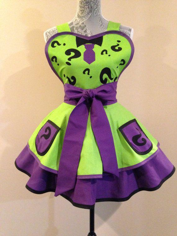 Riddler  Riddler apron  Riddler Costume  Retro by AriaApparel