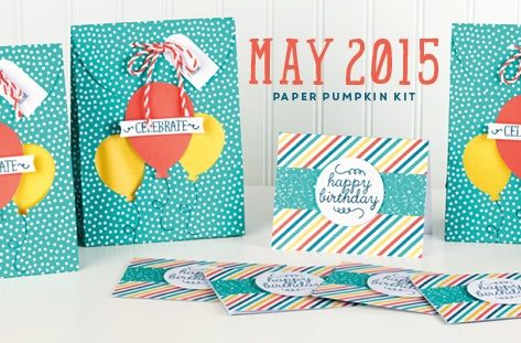 "Our May 2015 kit ""Birthday Bundle"" Included: an exclusive stamp set, ink spot, and supplies to make 4 bags and 6 cards with envelopes!"