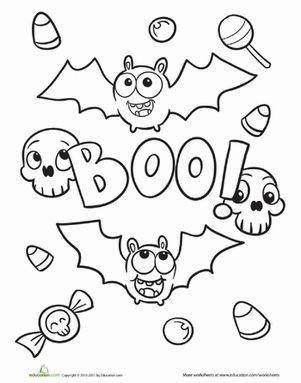 Halloween First Grade Kindergarten Holiday Worksheets: Halloween Bat Coloring Page
