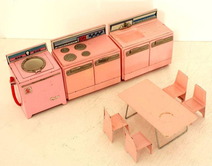 1960's Pink Metal Kitchen Toy Appliance Set Vintage Made in Japan