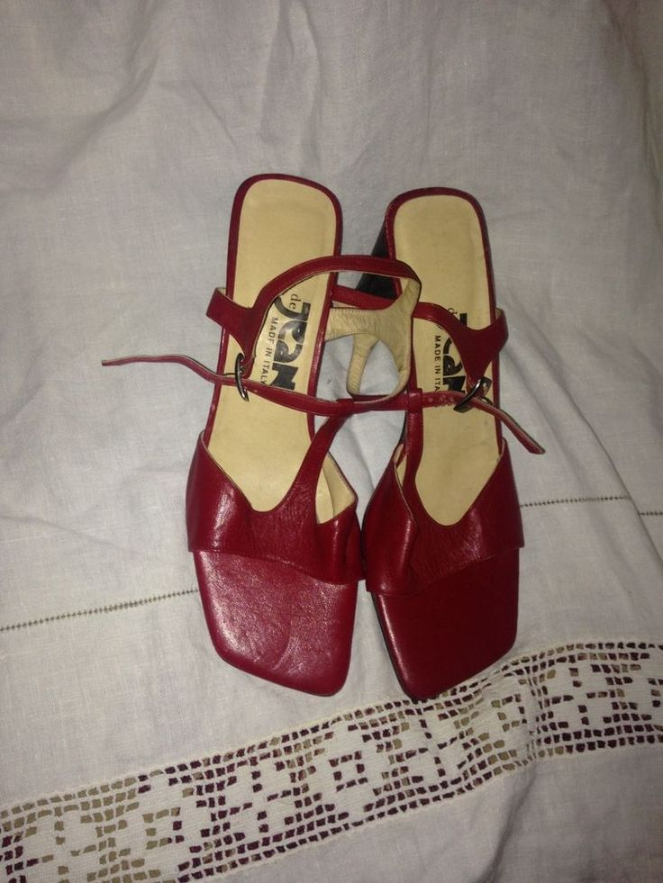 deJean Red - all leather Designer Sandals shoes made in Italy size 39