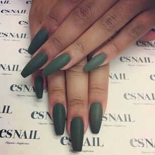 Matte green khaki rihanna nails