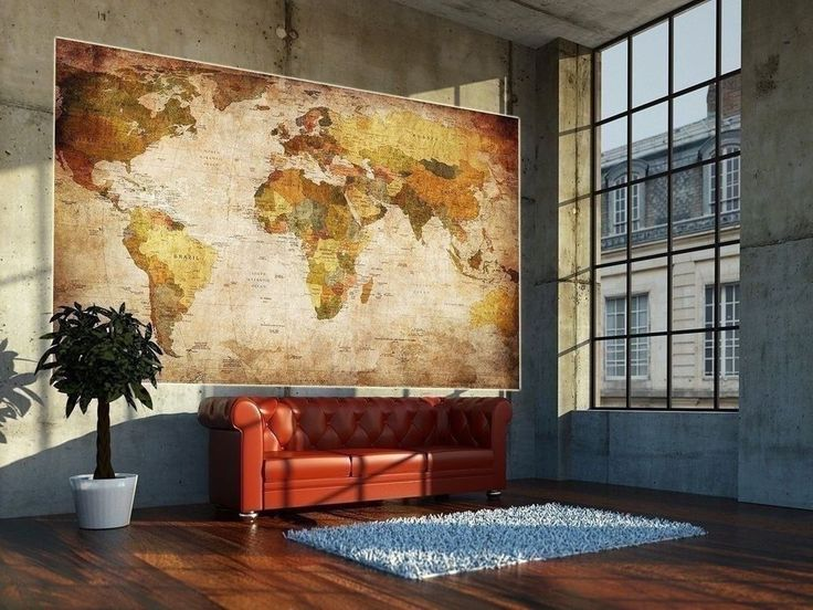 Fresh Vintage World Map Poster School Large Photo Wall Paper Antique Old Style Art Vtg