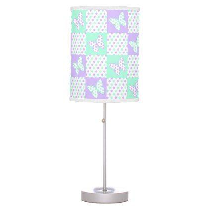 Lavender Purple Mint Green Butterfly Polka Dot Desk Lamp - elegant gifts gift ideas custom presents