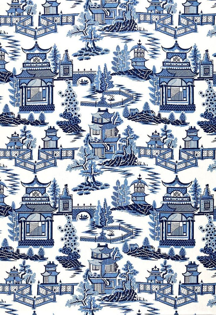 Details about SCHUMACHER CHINOISERIE PAGODA TOILE LINEN