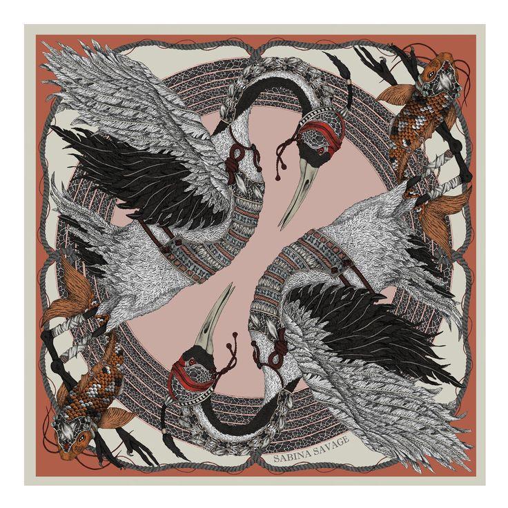 The Takeru Heron - Original luxury scarf design. - Sabina Savage
