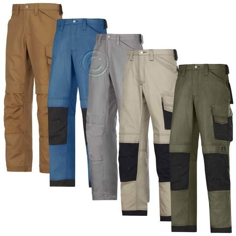 Snickers Work Trousers with Kneepad Pockets. Canvas+.(5 Colours/L-XL Leg)-3314D