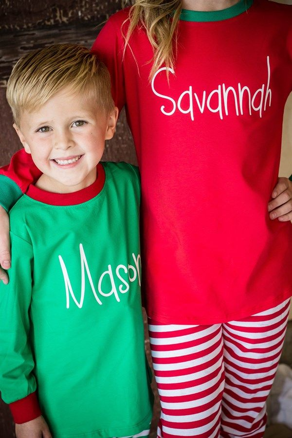 Monogrammed Christmas pajamas for kids ages 3 months to 14 years.