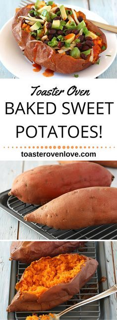 A simple guide for Toaster Oven Baked Sweet Potatoes. No need to heat up the whole house when you can use your toaster oven!