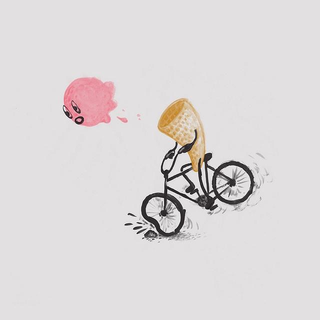 noticias:a un cono de helado que iba en su bicicleta se le cae el helado tropezando con una piedra