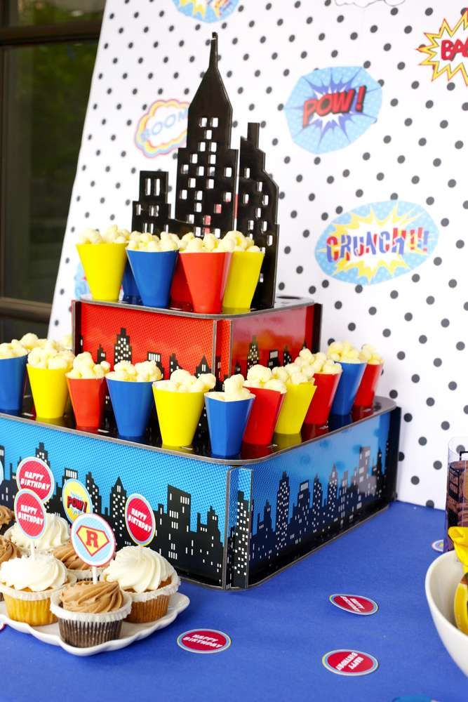 Popcorn at a superhero birthday party! See more party ideas at CatchMyParty.com!