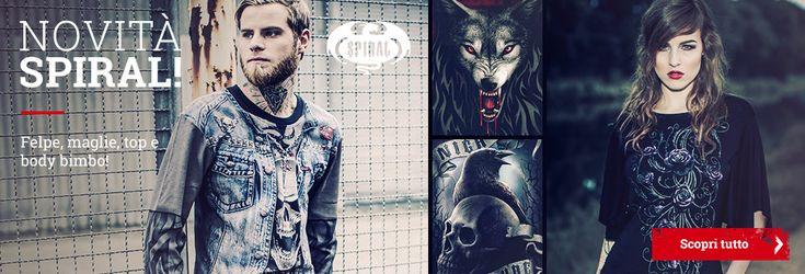 Il brand #Spiral, stato fondato nel 1990, specializzato da tempo nel settore della moda Heavy Metal e Gothic, ha da poco lanciato la nuova collezione di capi per uomo, donna e bambino. Le stampe di altissima qualità sono il marchio distintivo di Spiral e arricchiscono capi basic come T-Shirt e felpe, ma anche top con dettagli in pizzo, cutout, lacci intrecciati e body per i più piccini.