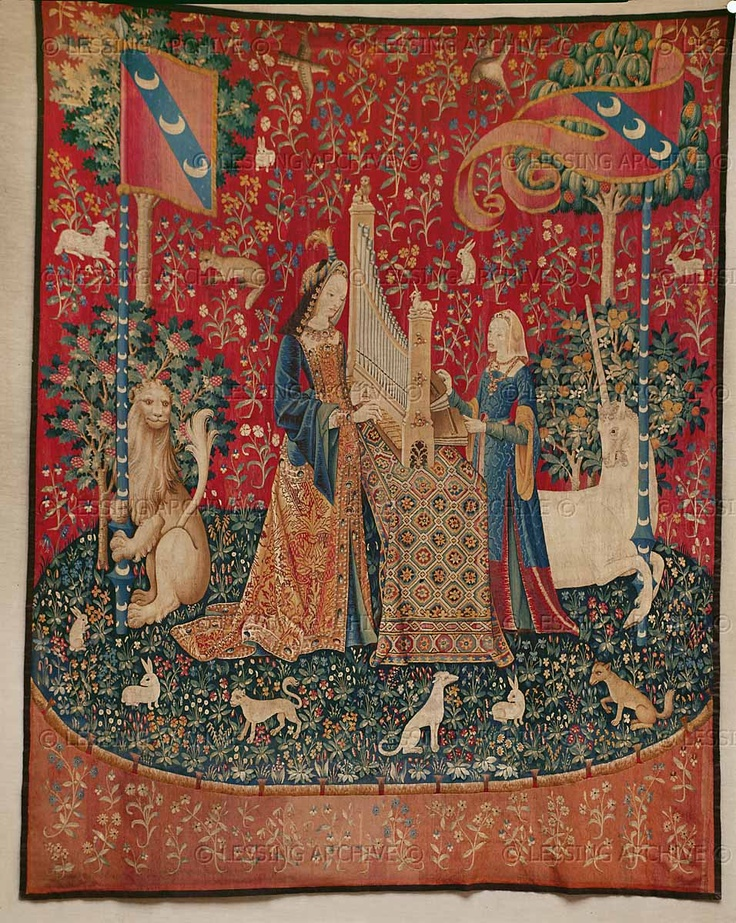 """RENAISSANCE TAPESTRY 15TH CENTURY Tapestry of the Lady and the Unicorn. The motto of this series of six tapestries is """"A mon seul desir""""- """"After my own desire"""". The series was woven in Brussels, after Parisian cartons, for Jean le Viste, burgher of Paris. The five senses: Hearing.Approx.368 x 290 cm 1480-1490 Musee du Moyen-Age(Cluny), Paris, France"""