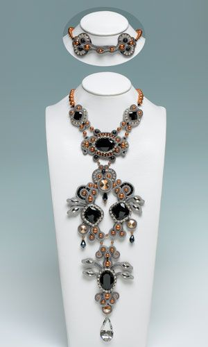 Jodi Horgan - The Secret: Bib-Style Necklace with SWAROVSKI ELEMENTS and Soutache Braid - Fire Mountain Gems and Beads