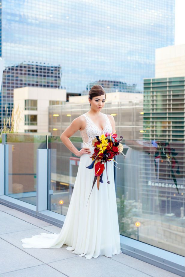 Glamorous bride wearing a Tara Keely wedding dress  (Ashley Kidder Wedding Photographer)