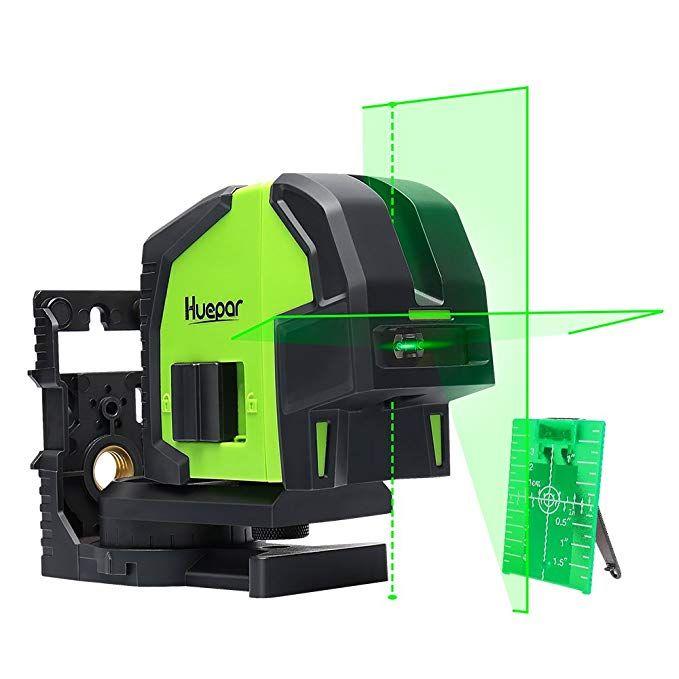 Cross Line Laser Level With 2 Plumb Dots Huepar 8211g Professional Green Laser Beam Fan Angle Of 130 Selectable Vertical Laser Levels Green Laser Plumbing