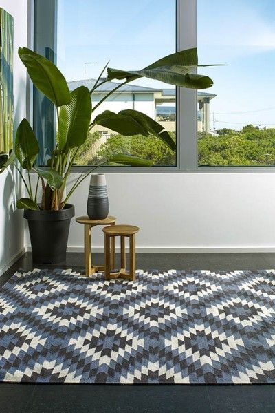 Havana, Midnight A vibrant blue, grey and natural white design flatweave NZ wool rug.  Available to see in store now and available to order in the following sizes:  160 x 230, 200 x 290, 250 x 350