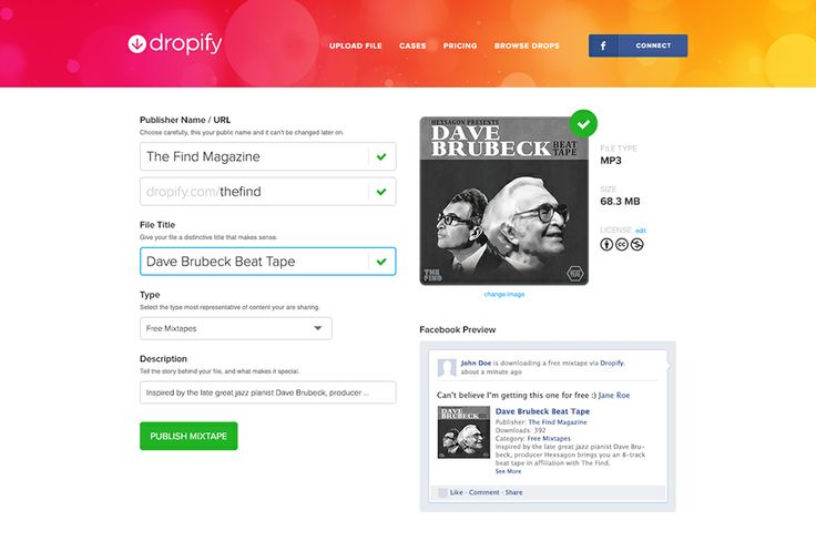 Dropify: a easy way to a provide free downloads and convert them to fans on your Facebook page