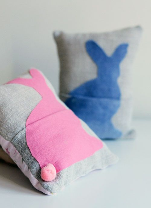 DIY: Bunny Basket Pillows. Stuff them with treats, instead of a basket.