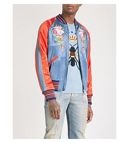 6b84dee1a GUCCI Floral and Koi carp-embroidered satin bomber jacket. #gucci ...