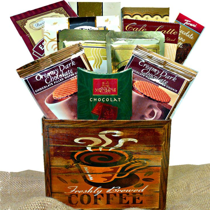 Impress friends, family or your most important business clients with this clever gift featuring premium coffees, sweets and great java go-togethers.